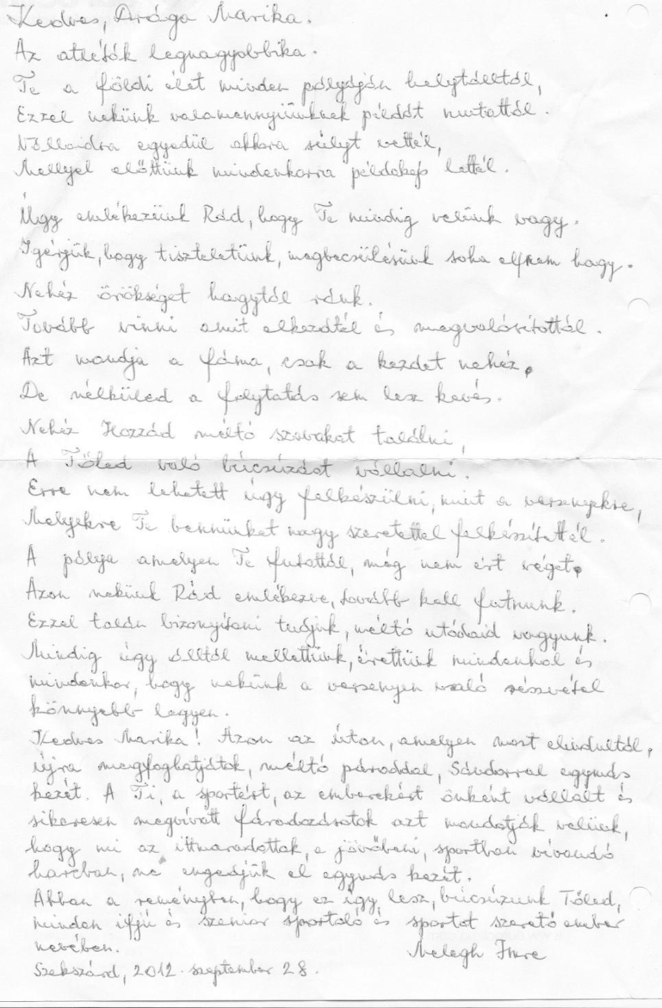 önéletrajz kézzel írott Szenior Atléták Magyarországi Szövetsége   Hungarian Senior  önéletrajz kézzel írott